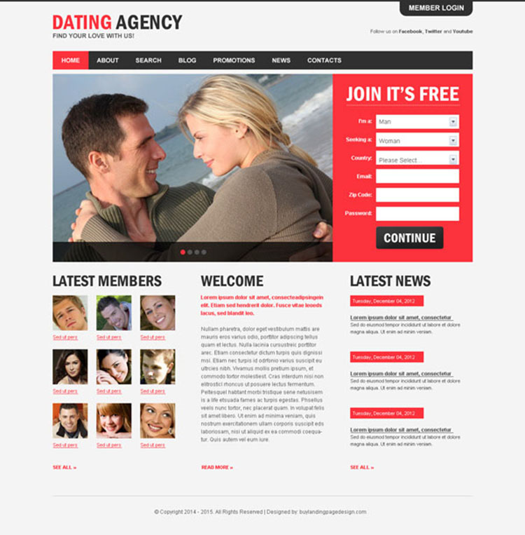 dating agency appealing and attractive website template psd design