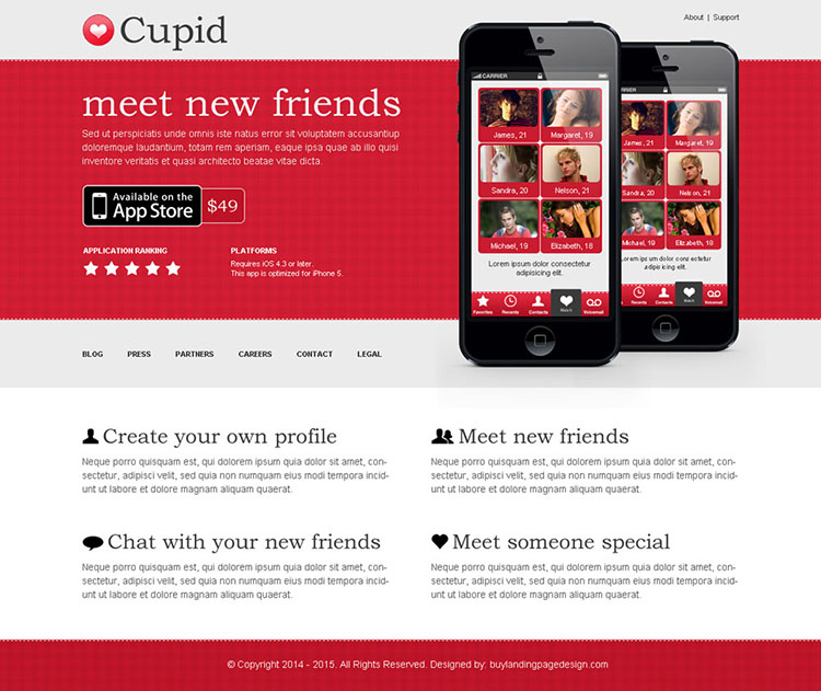dating call to action app landing page design