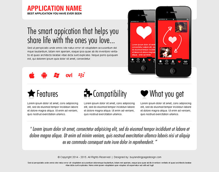 best dating application landing page design