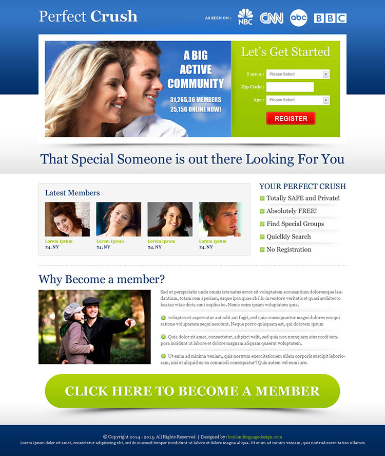 most converting perfect crush dating landing page design template