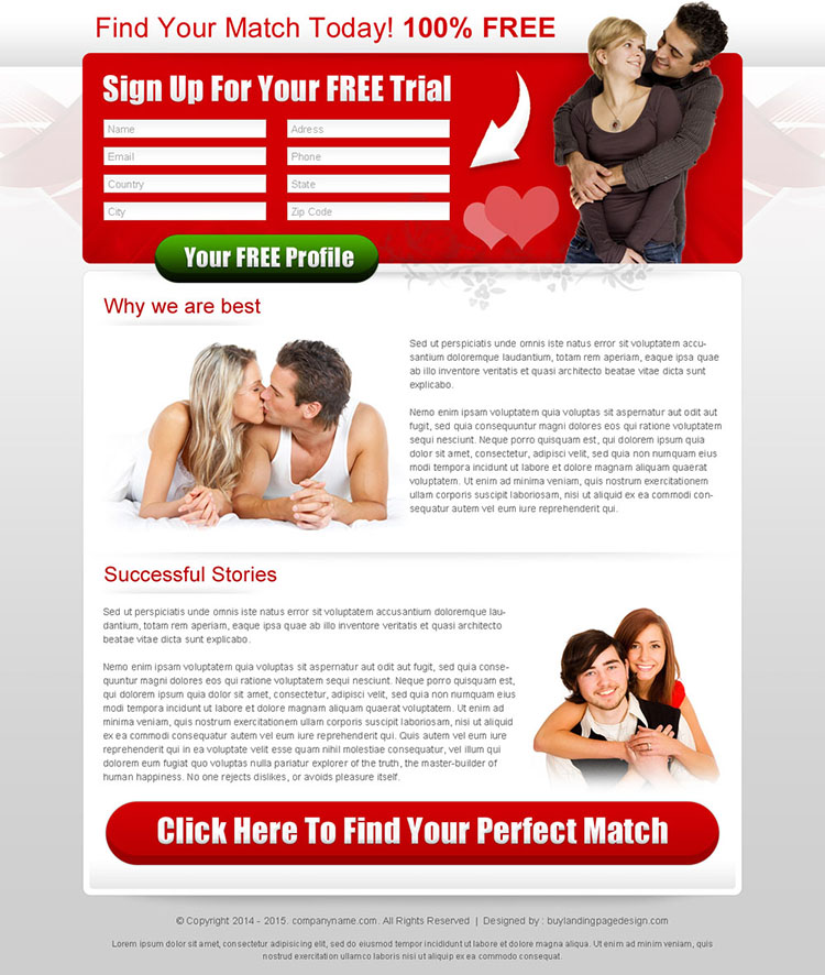 dating landing page design templates for new member sign up