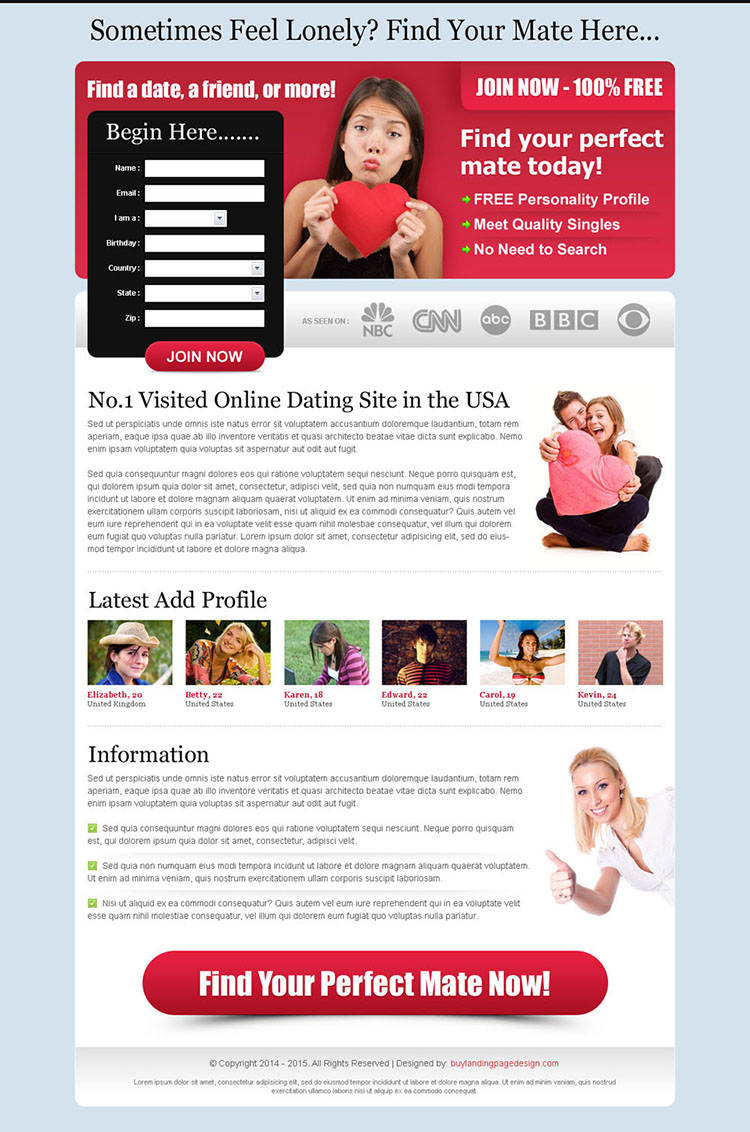 find your perfect mate conversion oriented dating landing page design
