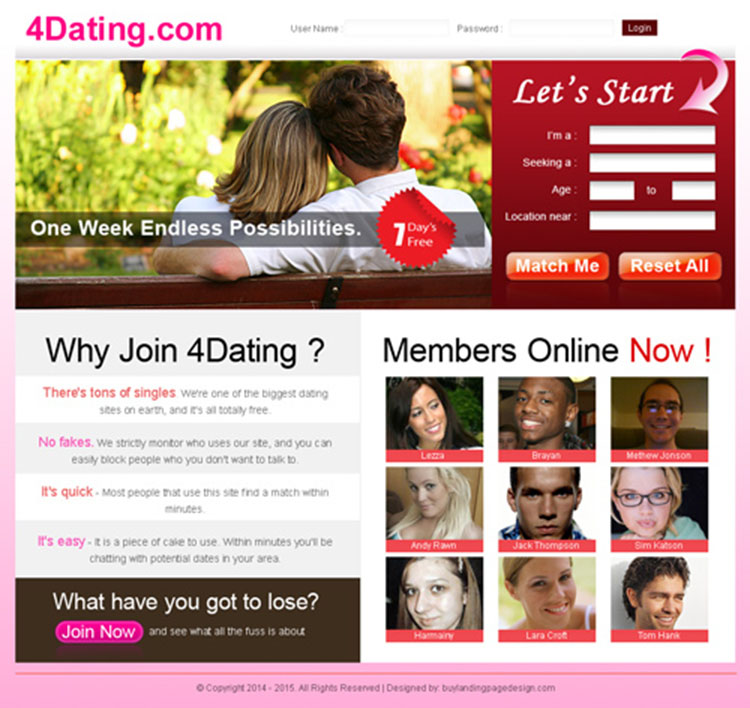 lead capture clean and simple dating landing page for sale