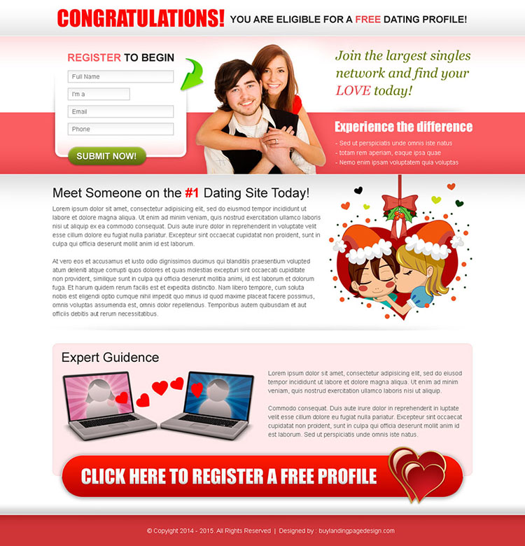 clean dating lead capture landing page