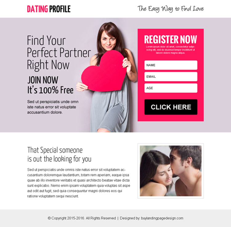 dating profile register now ppv landing page design