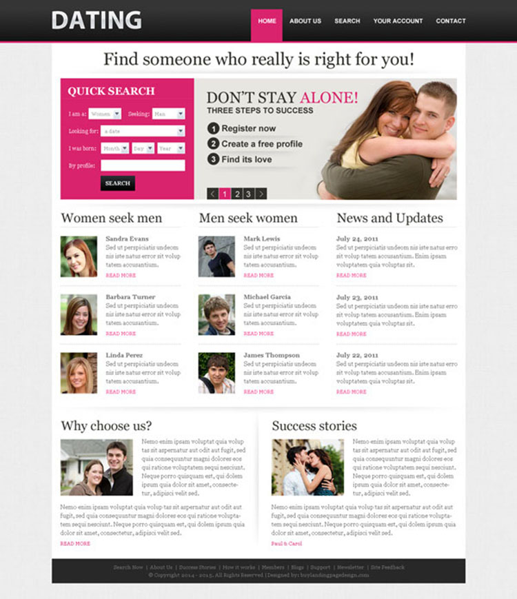 Dating profile search template psd 011 website template for Dating site description template