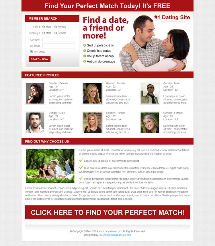 find the perfect match clean and effective dating lead capture design