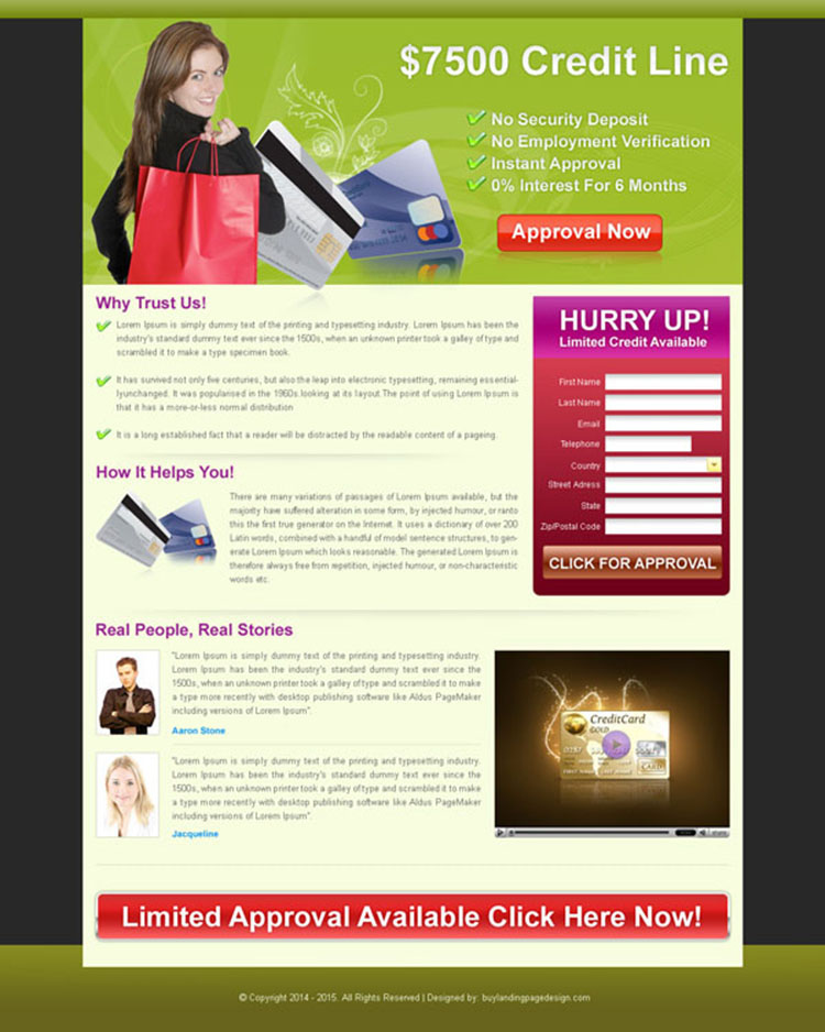 debt approval lead capture landing page design for sale