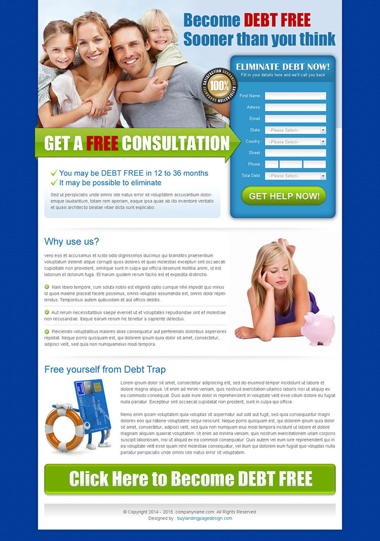 converting debt free lead capture lander design