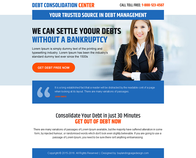 debt consolidation center call to action ppv landing page