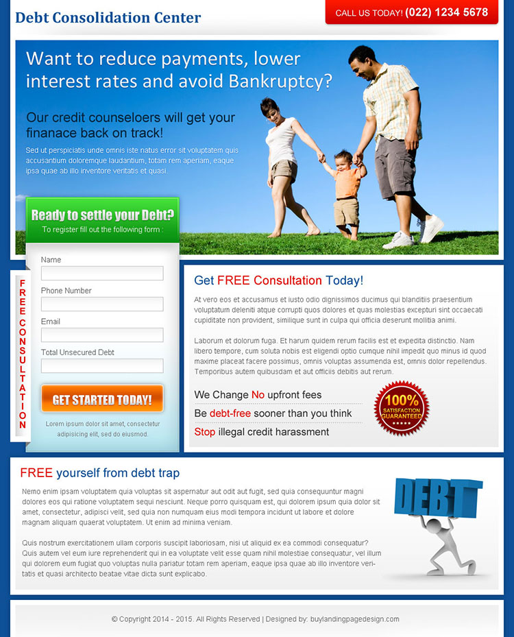 debt consolidation center lead capture landing page design for sale