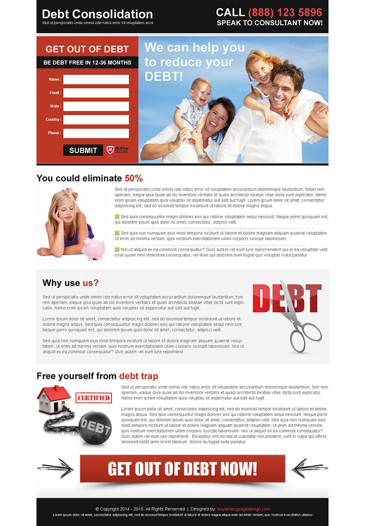 debt consolidation attractive and appealing lead capture landing page design