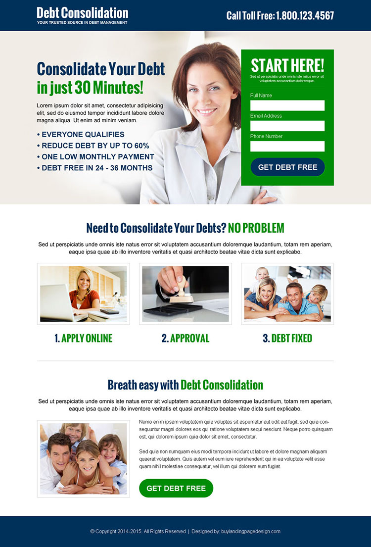 consolidate your debt effective and appealing debt lead capture landing page design template