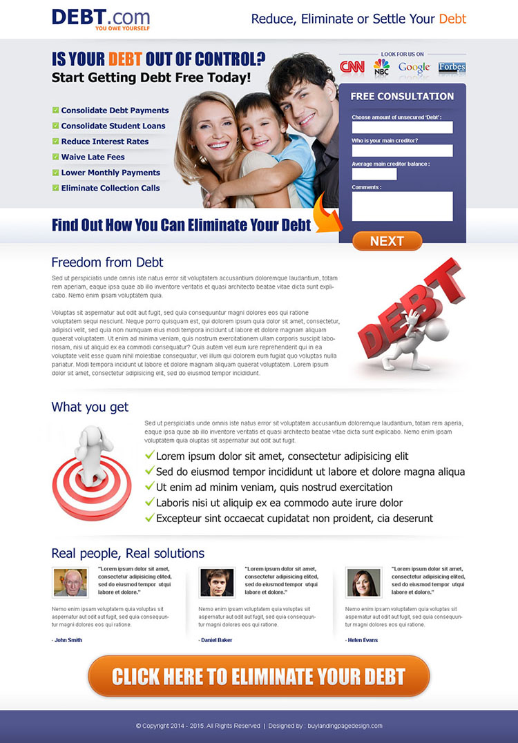 eliminate your debt small lead capture form landing page