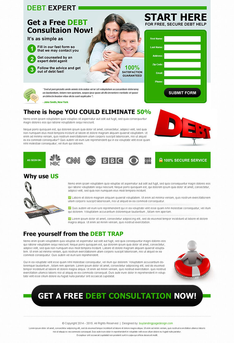debt free consultation clean lead gen converting landing page