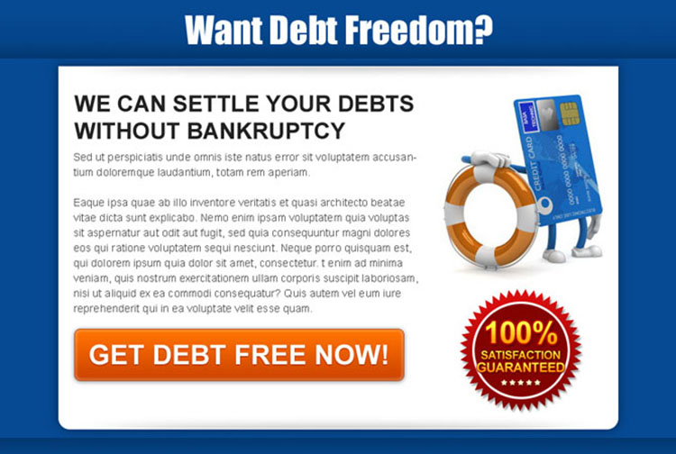 settle your debts without bankruptcy effective and appealing landing page design