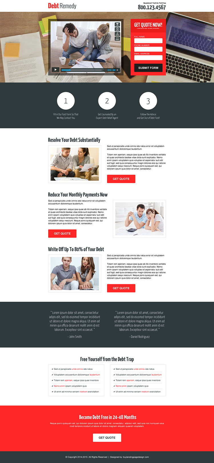 debt relief business converting video lead capture landing page design