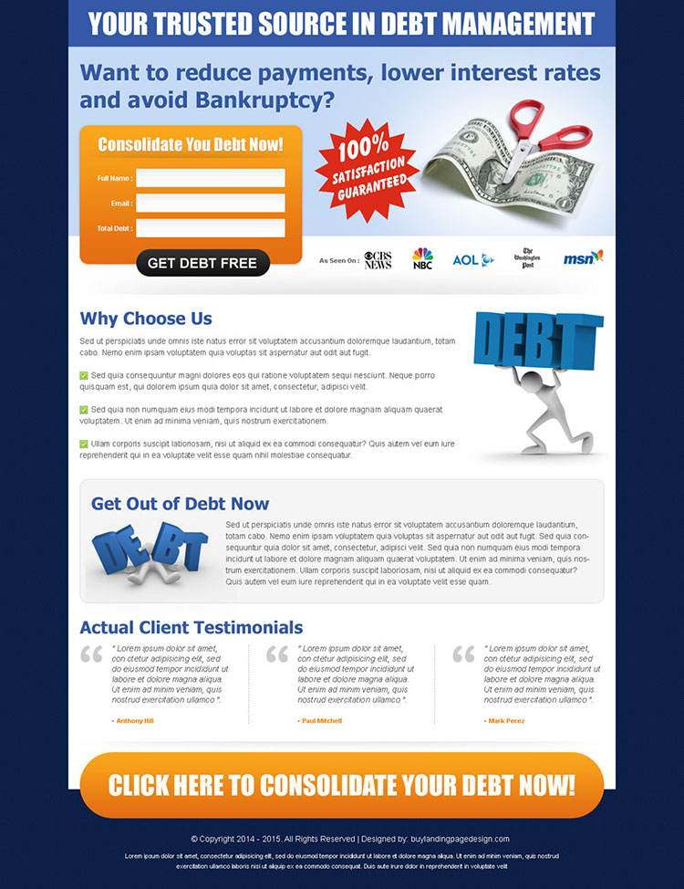 your trusted source in debt management simple lead capture landing page design