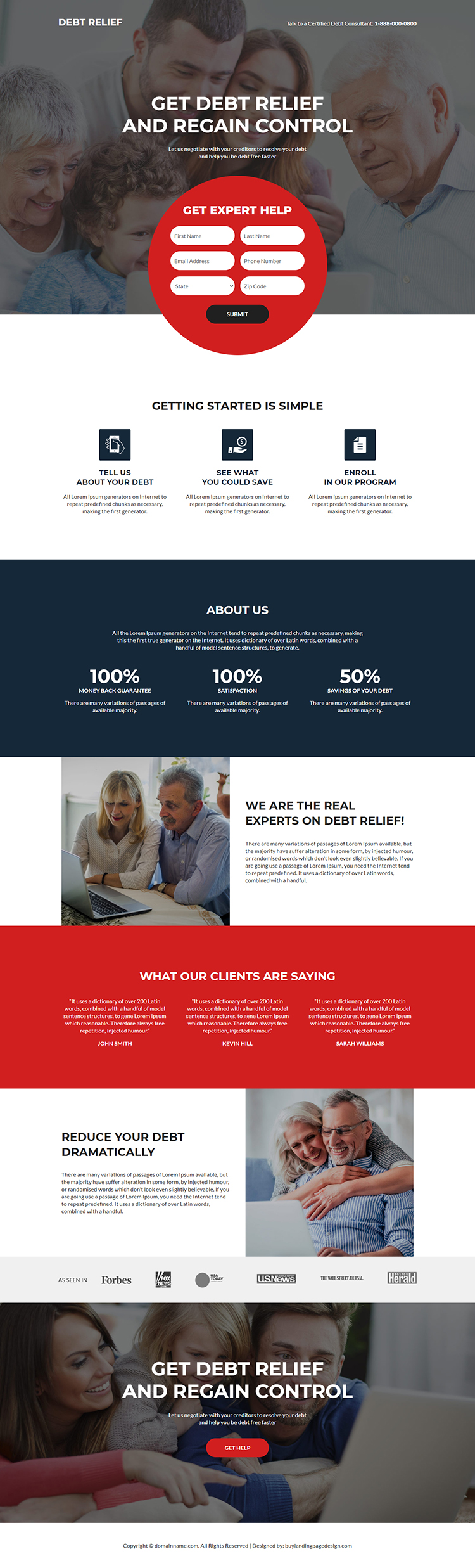 debt relief assistance responsive landing page design