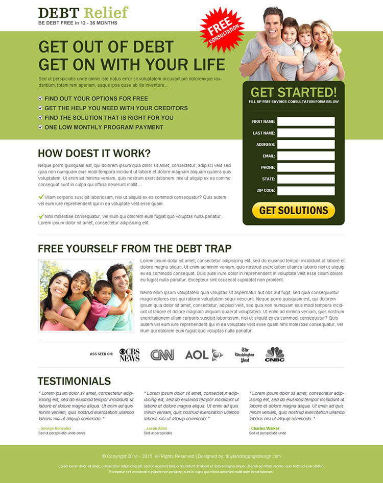 debt relief landing page design to maximize your business conversion rate