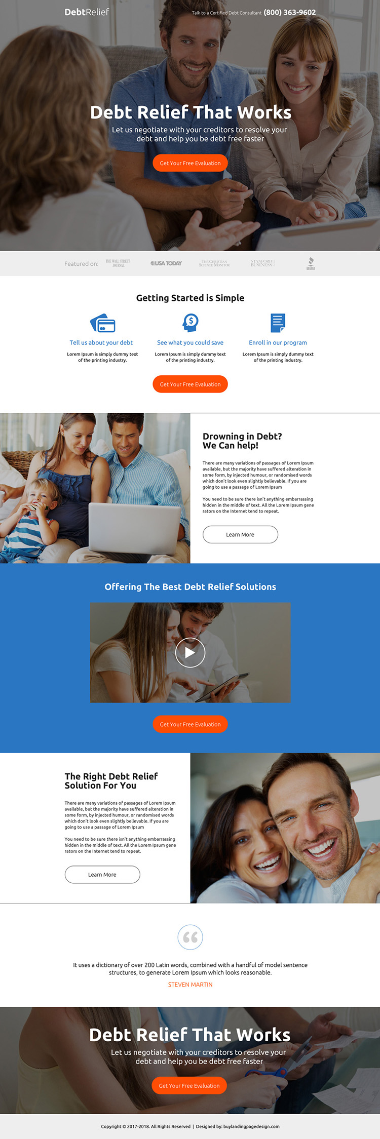 debt relief evaluation premium landing page design