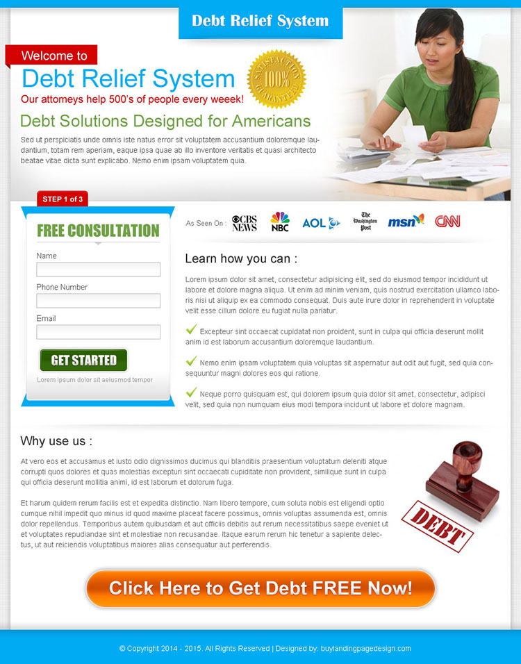 debt relief system clean and minimal landing page design for sale