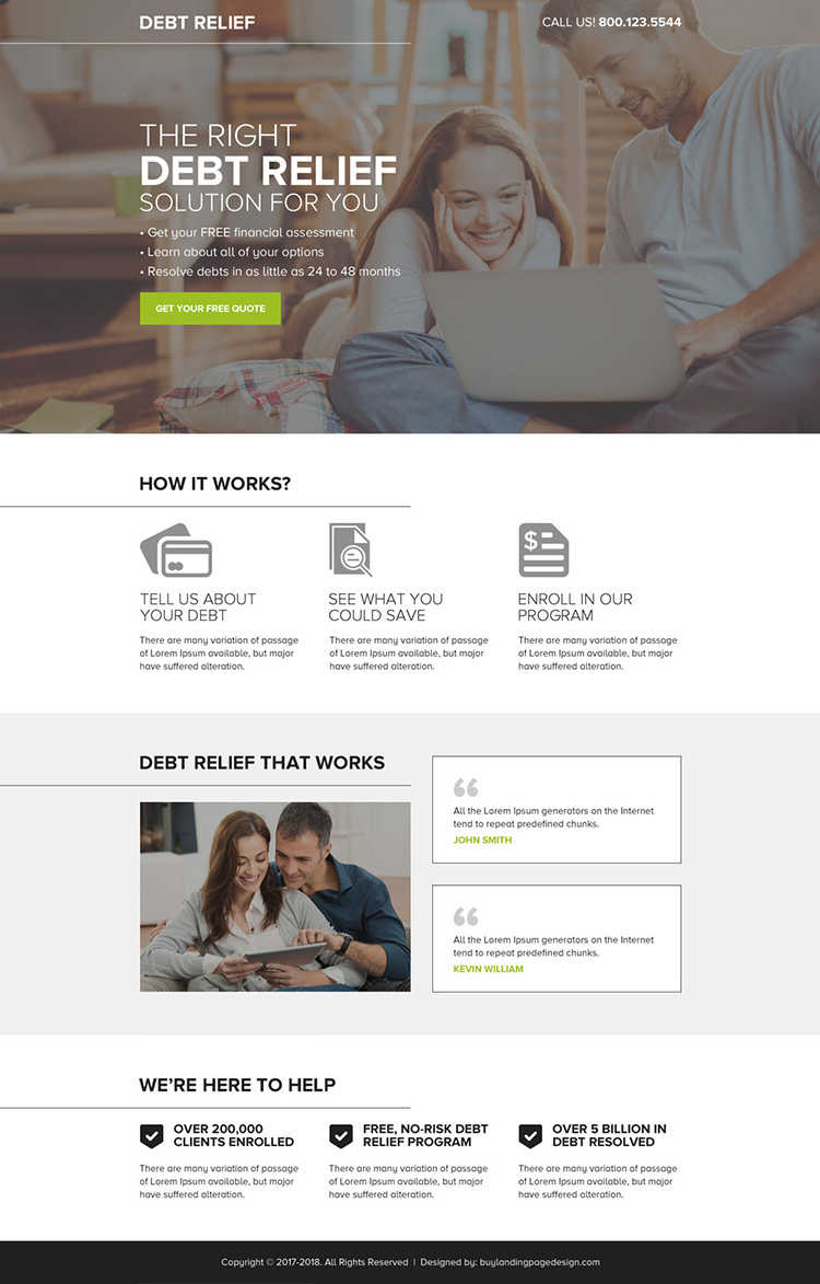 debt relief free quote mini landing page design