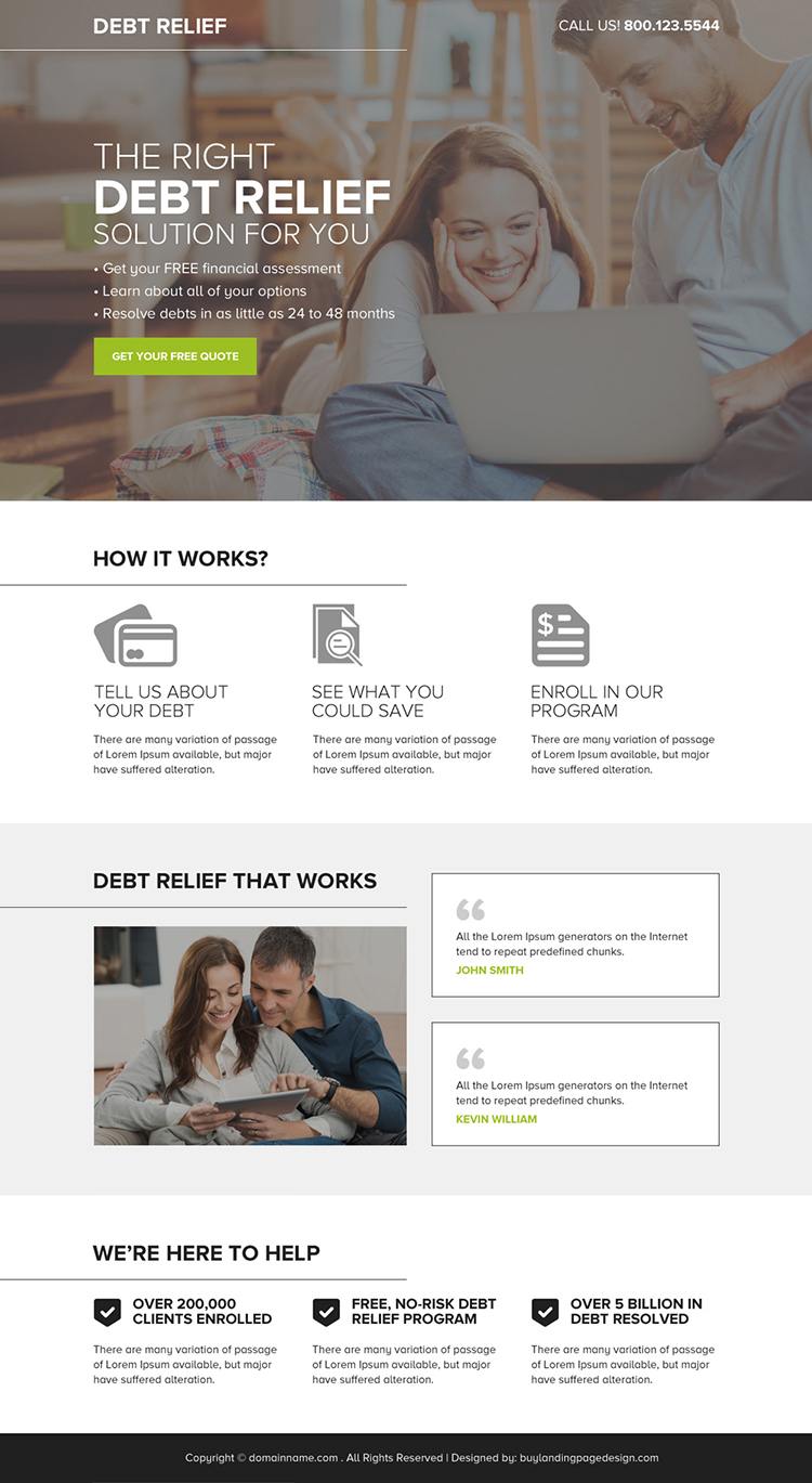 debt relief free quote lead capturing responsive landing page design