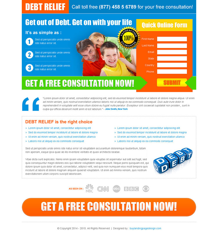 debt relief lead capture squeeze page design
