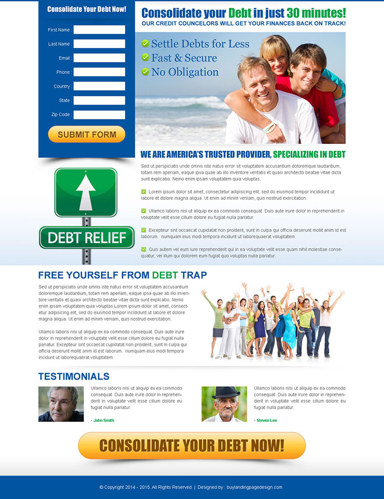 consolidate your debt effective and converting lead capture page