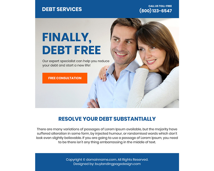 debt relief service free consultation ppv landing page design