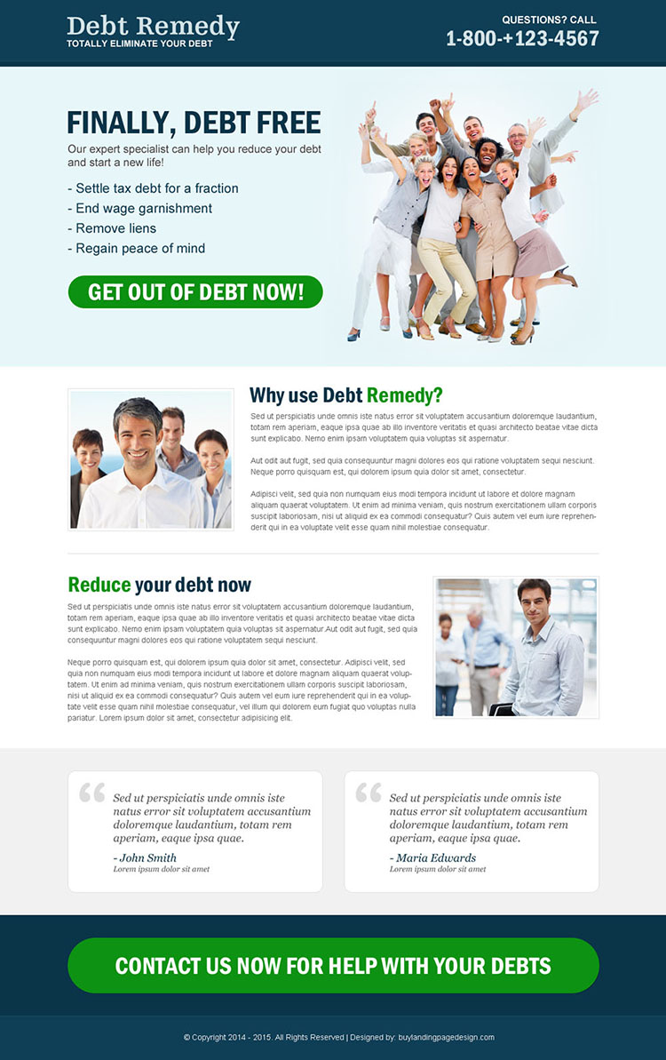 clean and effective debt responsive call to action landing page