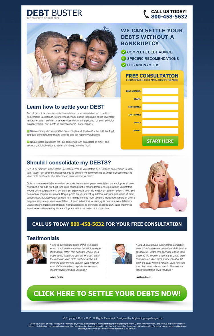 debt buster eliminate your debt without a bankruptcy free consultation lead gen page