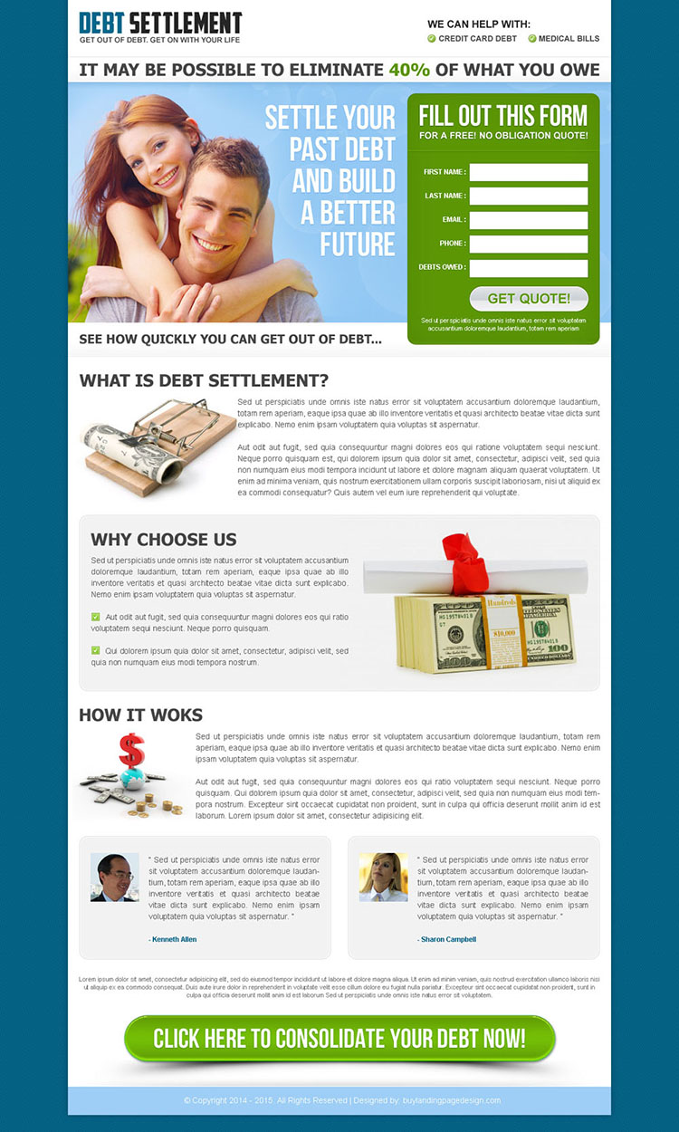 settle your past debt and build a better future converting landing page design