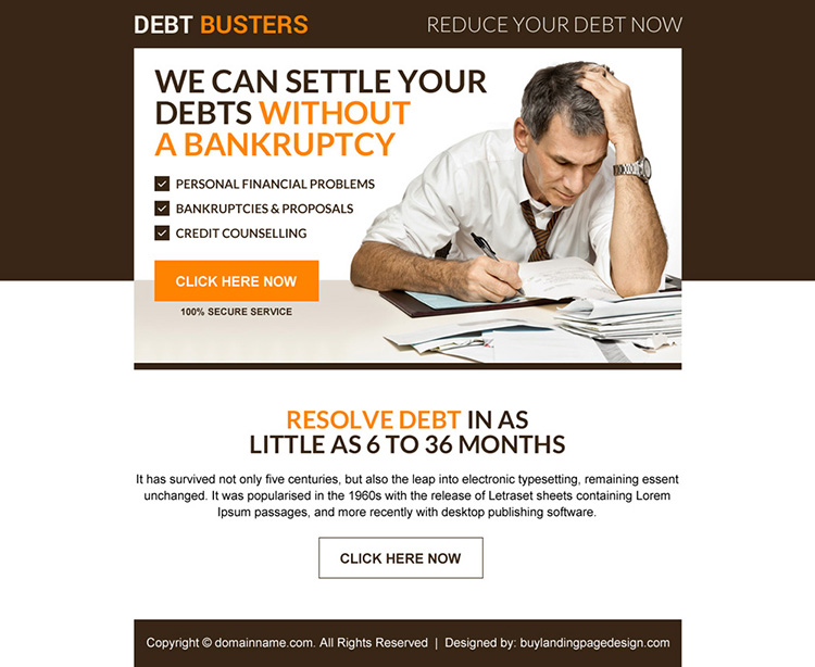 debt settlement without bankruptcy ppv landing page design