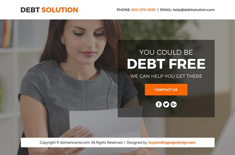 debt solution marketing funnel landing page design