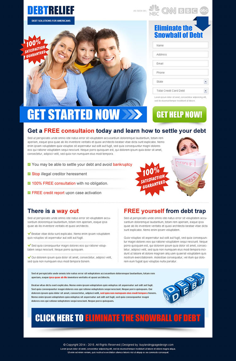 eliminate the snowball of debt effective and converting lead gen squeeze page