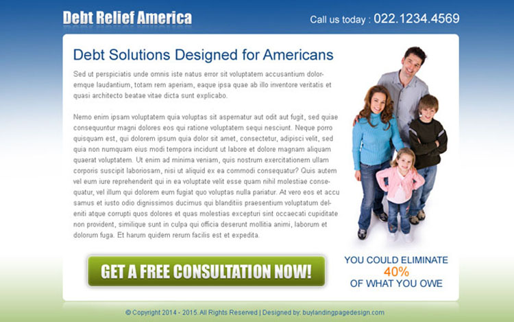 debt solutions for americans converting ppv landing page design template