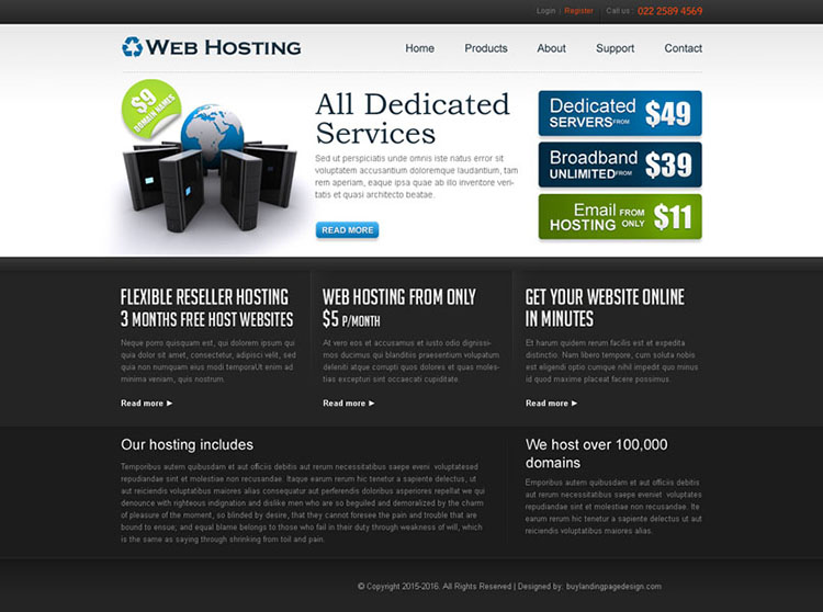 dedicated web hosting service website template design psd