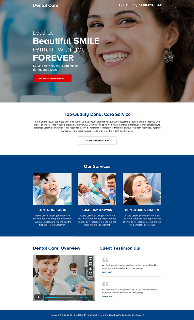 dental care service click through mini landing page design