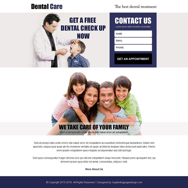 dental care for your family lead generation ppv landing page design
