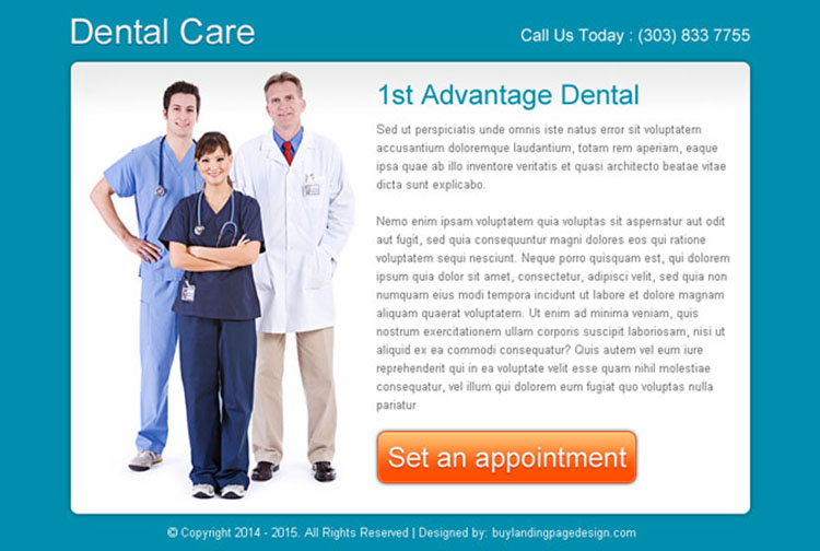 dental care clean and effective ppv landing page design