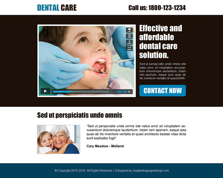 dental care call to action converting ppv landing page design