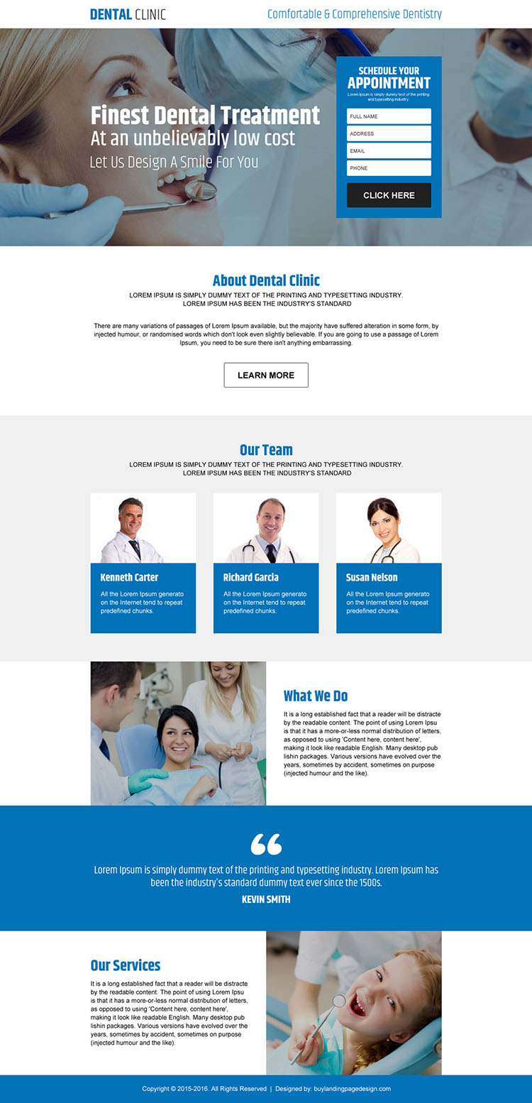 dental clinic appointment lead capture landing page design