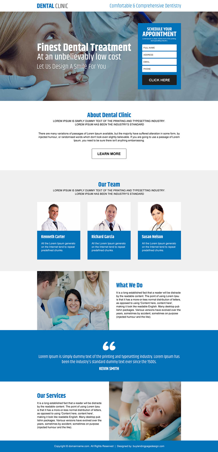 dental clinic appointment responsive landing page design