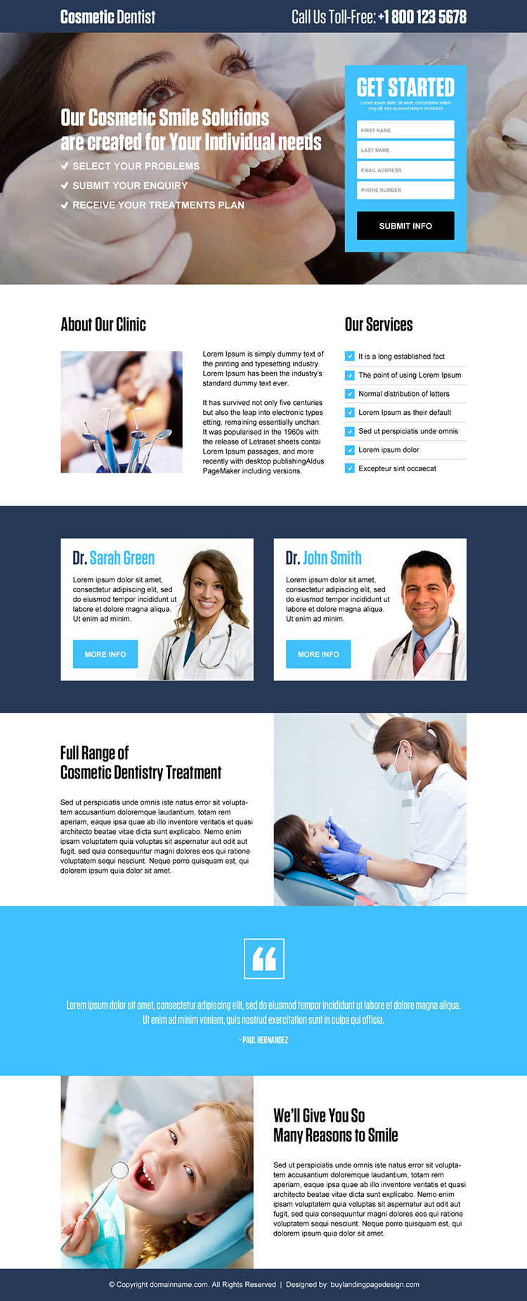 dentist lead generating responsive landing page design