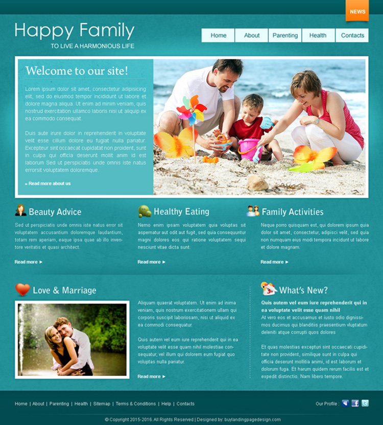 happy family website template design psd for sale