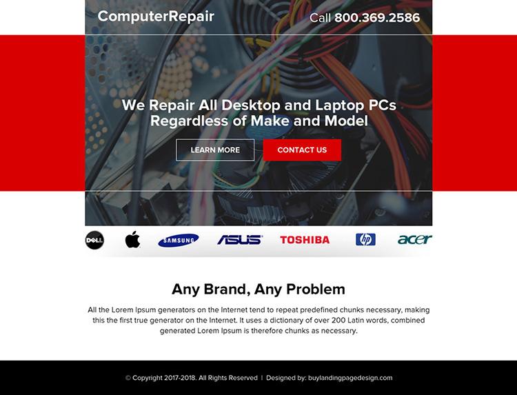 desktop and laptop repair ppv landing page