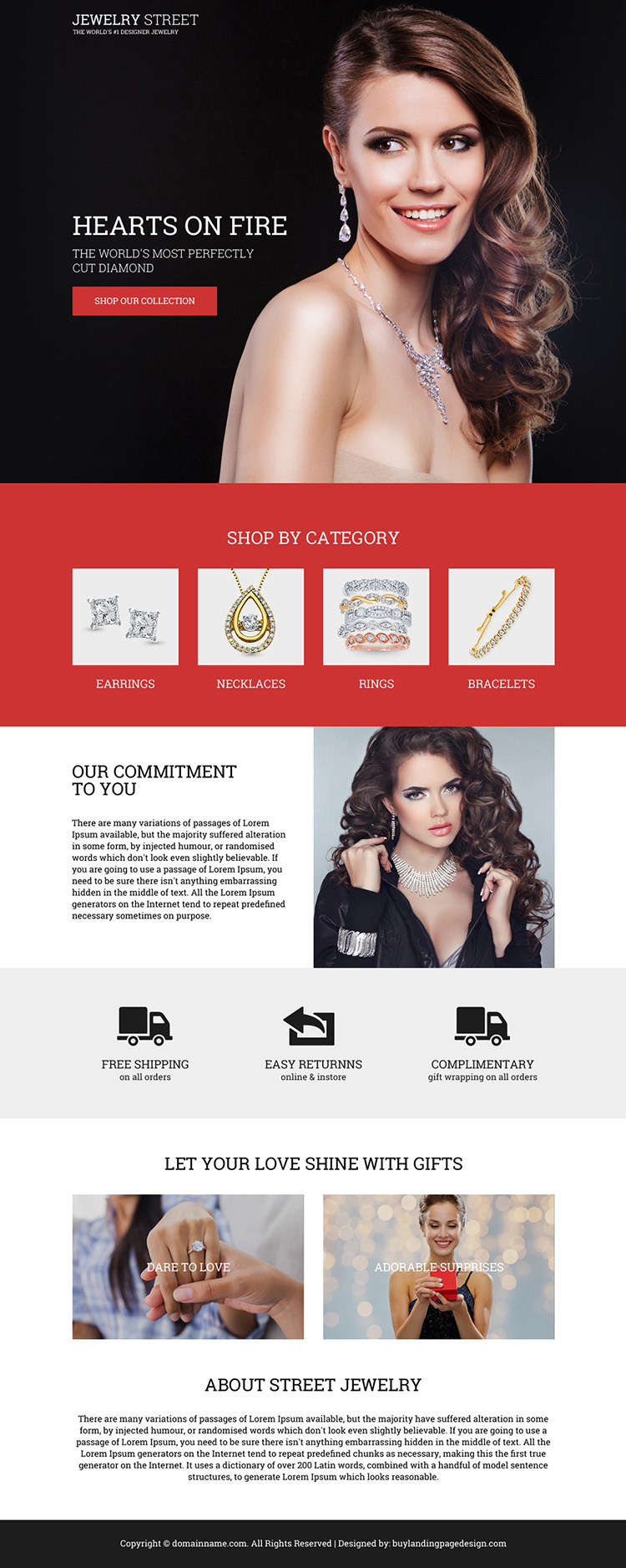 diamond jewelry lead generating bootstrap landing page design