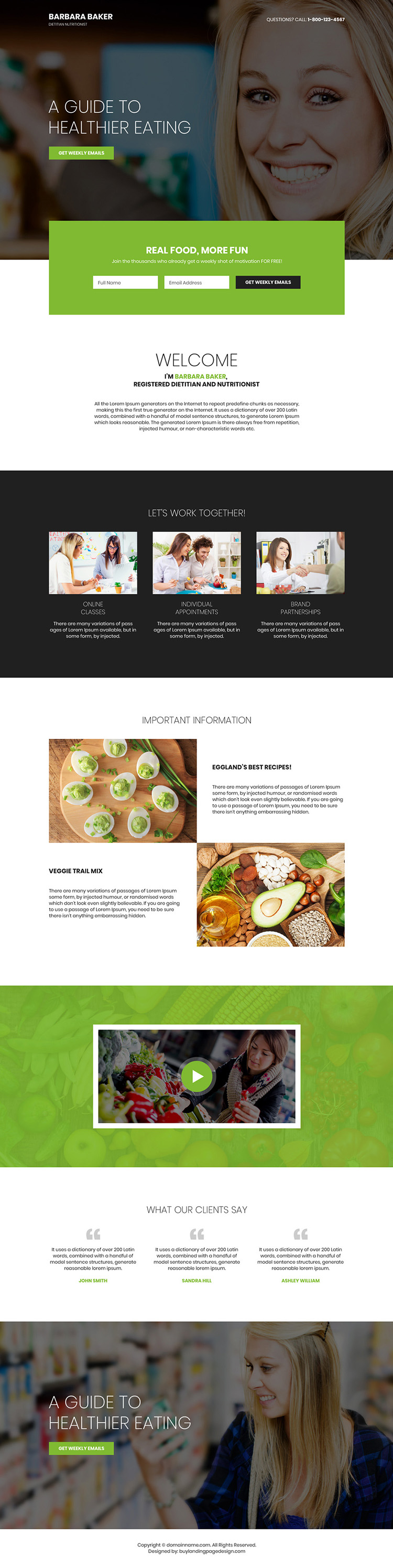 dietitian and nutritionist lead capturing personal page design
